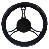 Capa Protetora Para Volante De Carro Preto Aro Cromado