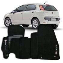 Tapete Carpete Preto Fiat Punto 2013 A 2015 Com Logo 5 Peças
