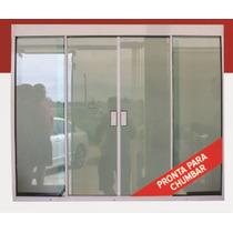 Janela 4f Vidro Temperado Tipo Blindex Alumínio Br 1500x1200