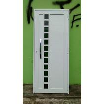 Porta C/ Quadriculado De Vidro E Alumínio Branco S. André