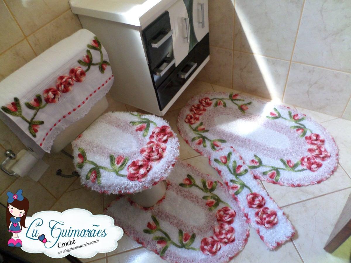Jogo De Banheiro Em Crochê Harmonia 5 Peças R$ 255 00 no  #694138 1200x900 Aviso Banheiro Em Manutenção