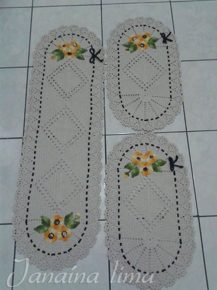 Jogo De Cozinha De Croche Com Flores Elo7 Pictures to pin on Pinterest