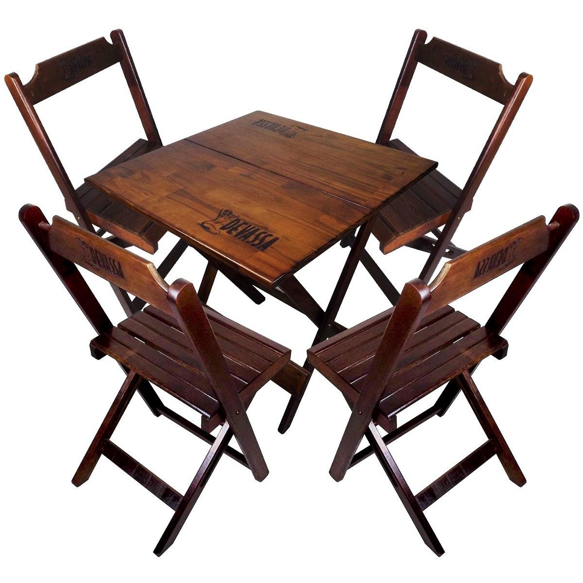 Jogo De Mesa E 4 Cadeiras Dobrável De Madeira Timbr Devassa R$ 319  #965435 1200x1200