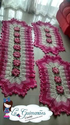 Jogo cozinha de croche em barbante barroco bordado argola for Rosa weiay gestreifte tapete