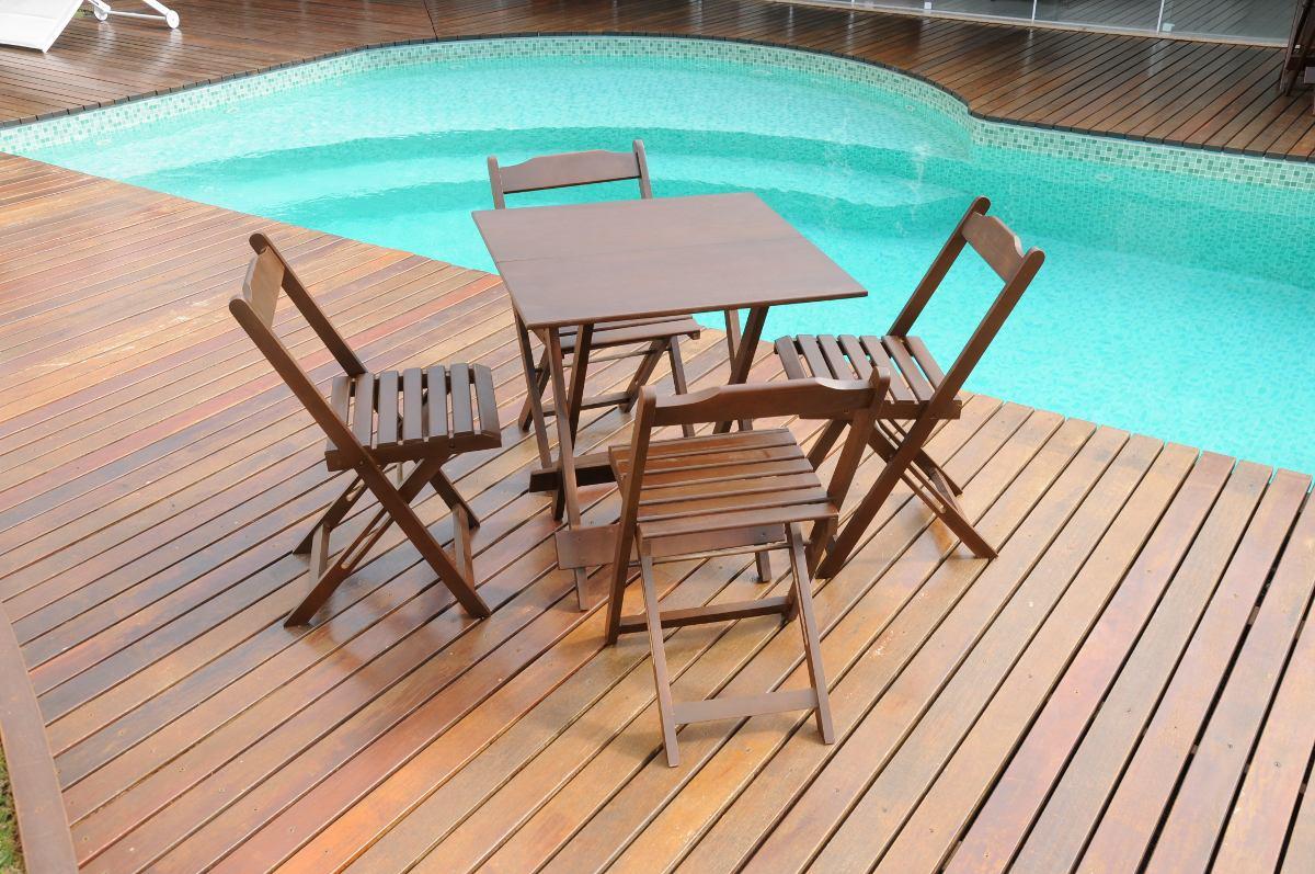 Jogo De Mesa Com 4 Cadeiras 70x70 Bar Dobrà ¡vel Em Madeira  #24A7A1 1200x797