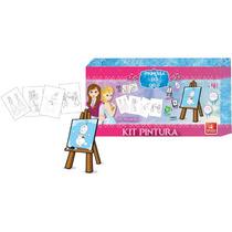 Kit Pintura Infantil C/ Cavalete De Mesa + 4 Telas E Tinta