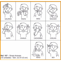 Carimbo Pedagógico Libras - Sinais Animais 10 Unidades