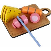 Brinquedo Madeira- Linha Comidinha- Kit Frios Para Corte
