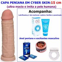 Capa Peniana Cyber Skin 15cm + Anel Peniano + Lubrificante