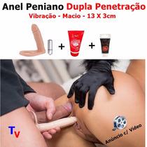 Anel Peniano Companheiro Dupla Penetração Com Vibrador 11cm