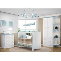 Quarto Infantil Doce Sonho 3 Pçs Berço Bebê Cômoda Bco Azul