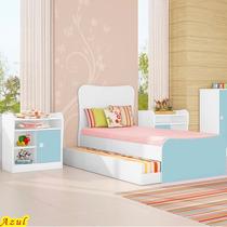 Quarto Infantil Cama Solteiro Com Auxiliar E 2 Criados Azul