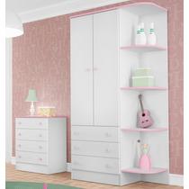 Quarto Infantil Guarda Roupa E Cômoda Doce Sonho Branco Rosa