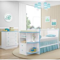 Jogo De Quarto Infantil Berço Cômoda Doce Sonho Branco Azul