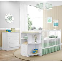 Jogo De Quarto Infantil Berço Cômoda Doce Sonho Branco Bebê
