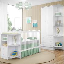 Quarto Infantil 2 Peças Berço Cômoda E Guarda Roupa Branco