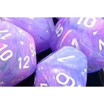 Conjunto Chessex De 7 Dados Wild Purple & White P/ Rpg D&d
