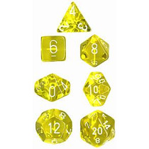 Conjunto Chessex De 7 Dados Translúcidos Amarelos P/ Rpg D&d