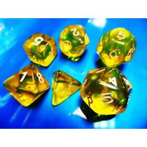 Jogo De Dados R P G, Kit Com 6 Peças Cor Amarela ( Rpg )