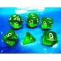 Jogo De Dados R P G, Kit Com 6 Peças Cor Verde ( Rpg )