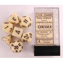 Kit De 7 Dados De Rpg - Chessex Opaco Ivory
