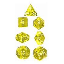 Conjunto Chessex 7 Dados Translúcidos Amarelo Com Branco Rpg