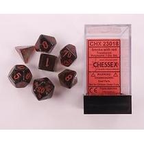 Kit De 7 Dados De Rpg E Cardgame Da Chessex - Cinza/vermelho