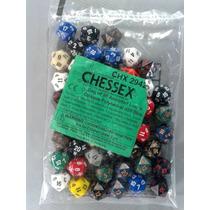 Lote Com 50 Dados D20 Chessex Sortidos Modelos Opacos