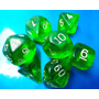 Dados De Rpg, Conjunto Com 7 Peças Verdes, Peças Novas