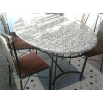 Mesa Ferro Com Marmore Com 4 Cadeiras Em Junco Sintetico