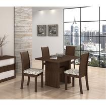 Conjunto De Mesa 100% Mdf 4 Cadeiras Sâmara New Sala Jantar