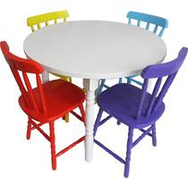 Conjunto De Mesa Country Com 4 Cadeiras Coloridas