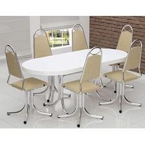Mesa De Jantar Extensível Fórmica Branca + 6 Cadeiras Girató