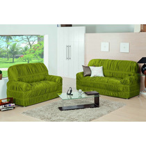 Capa Para Sofá 2 E 3 Lugares Malha Gel 21elásticos Cor Verde