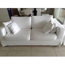 Sofá Em Tecido De Linho Branco, Com Capa De Sarja, Artefacto