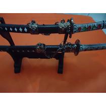 Kit Mini Katana Com 2 Espadas Enfeite Com Suporte