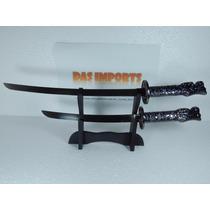 Katana Ninja Samurai Espadas + Suporte Cabo Cabeça De Dragão