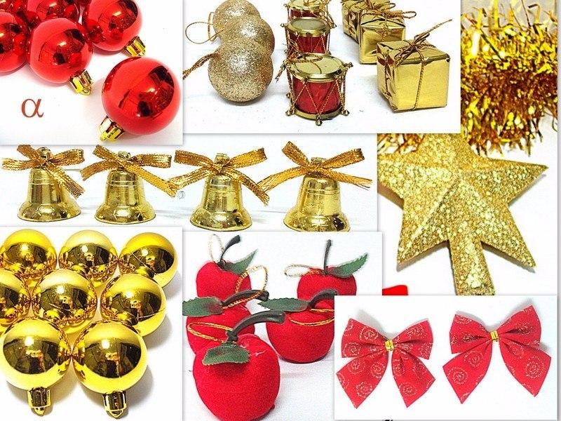 decoracao arvore de natal vermelha e dourada:Kit 200pç Enfeite De Natal P/árvore Vermelha E Dourada Alfa. – R$