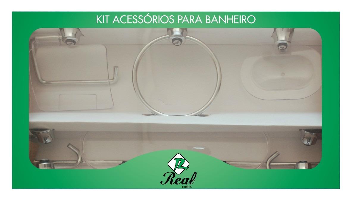 kit decoracao banheiro:Kit Acessórios Para Banheiro 7 Peças Alumínio / Acrílico – R$ 49