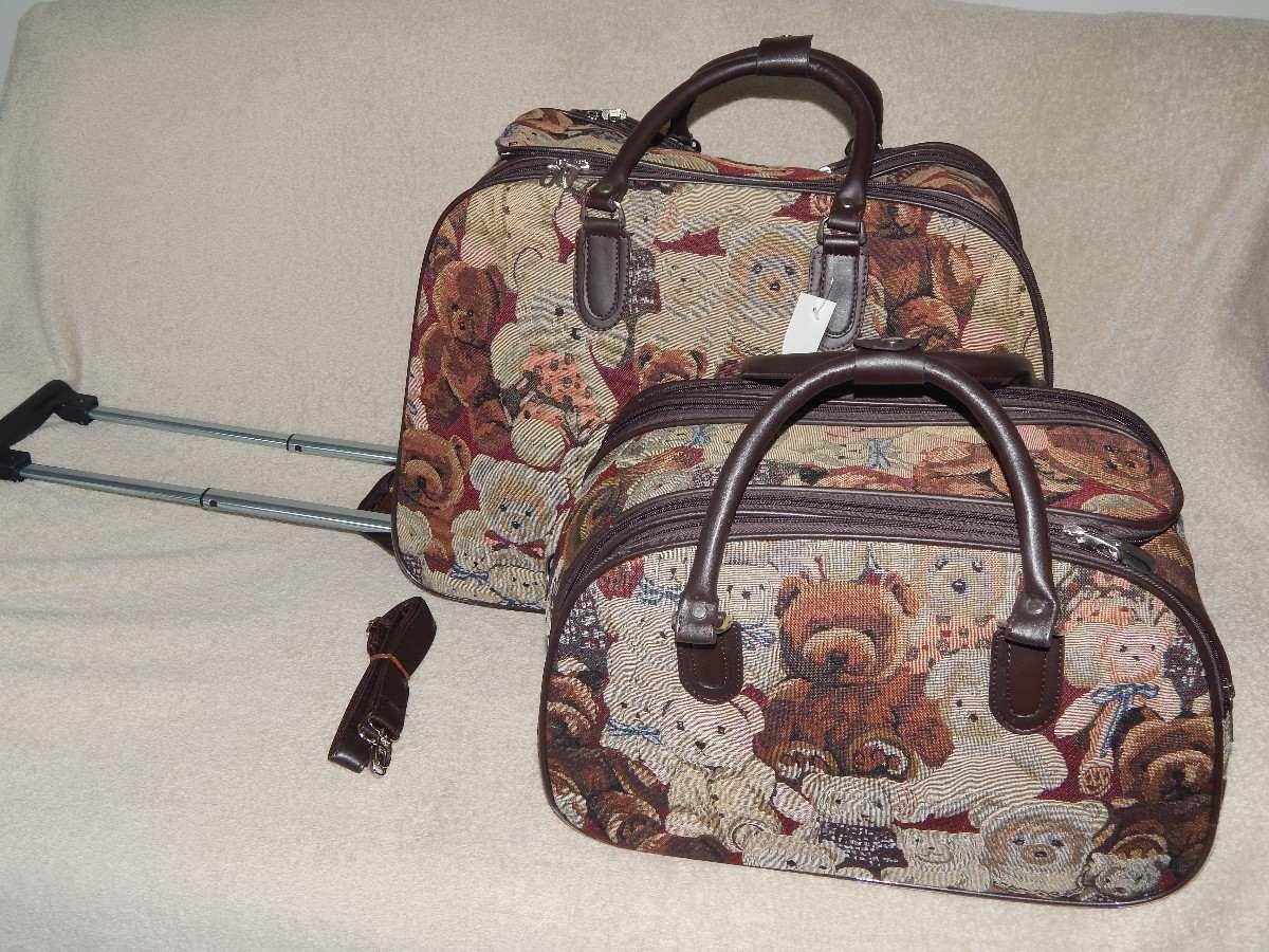 Bolsa De Viagem Feminina Rosa : Kit bolsa de viagem feminina com rodinha ursinho r