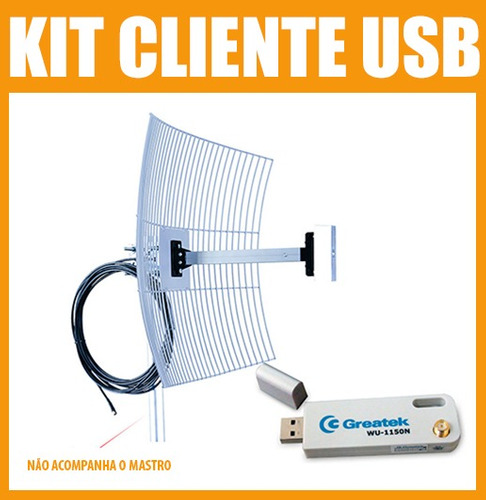 Kit Cliente Wireless Usb + Cabo 10 + Antena Aquário 20 Dbi