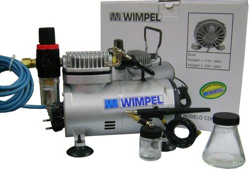 Kit Compressor Comp-1 + Aerógrafo Ação Simples -frete Grátis
