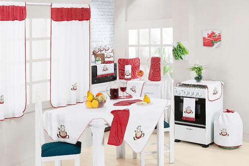 Kit Cozinha 11 Peças Bordado Vermelho Branco E Cortina  R$ 99,99 no Mercad # Kit Cozinha Pequena