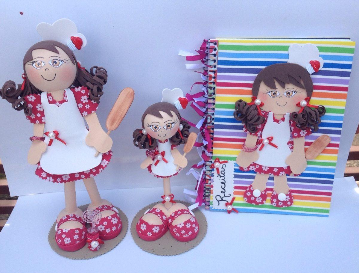 Artesanato Simples E Facil ~ Kit Enfeites Para Cozinha Bonecas E Caderno, Em Eva R$ 50,00 no MercadoLivre