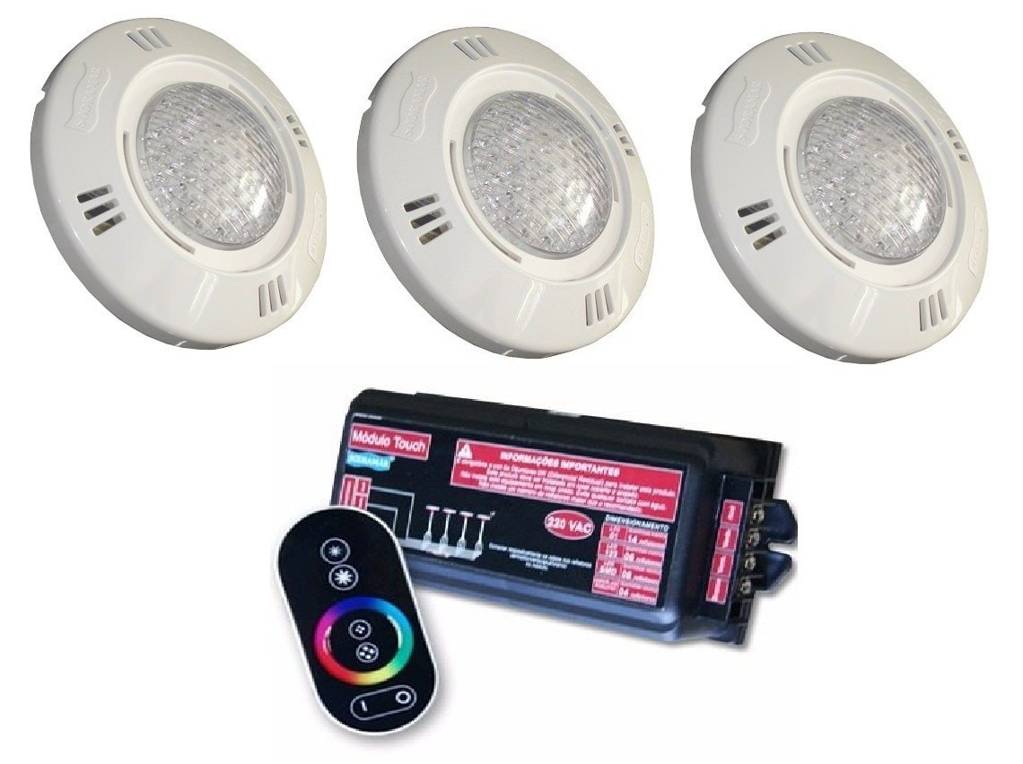 kit iluminacao jardim:Kit Iluminação Piscina 3 Led 61 Sodramar + Comando Touch – R$ 1.499