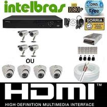 Kit Cftv Dvr Intelbras+hd+4cameras Infra1000l/30m+fonte+cabo