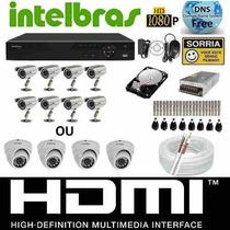 Kit Cftv Dvr Intelbras+hd+8cameras Infra 800l/30m+fonte+cabo