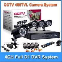Kit Cftv 4 Cameras Infra Verm Dvr H.264 Vigia Casa Segurança