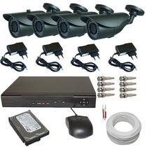 Kit 4 Câmeras Infra Residencial E Comercial+dvr+acessórios