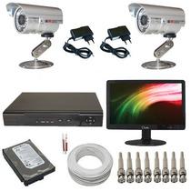 Kit Cftv 2 Câmeras Monitoramento Gravador Dvr + Monitor Led